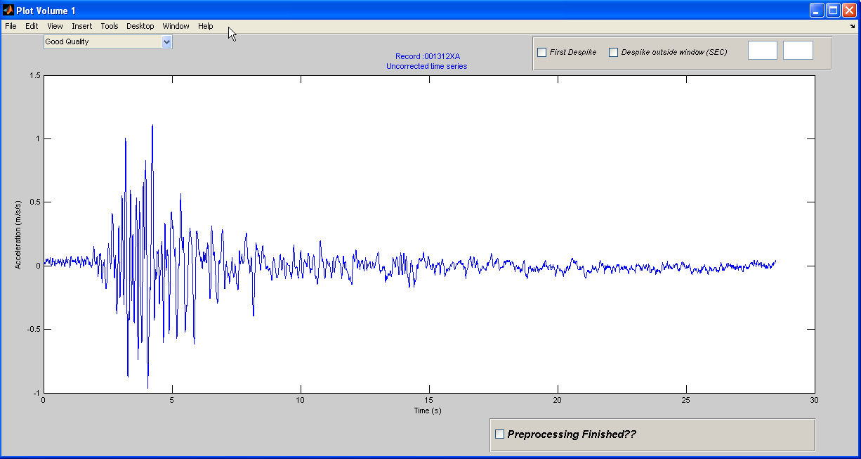 Ground Motion Estimation During Strong Seismic Events Using Matlab