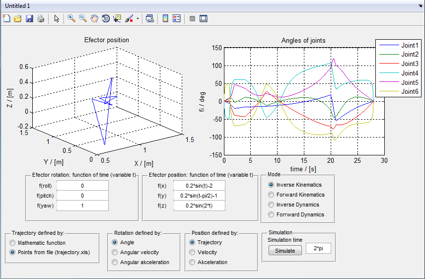 Analysis of Robotic System Motion in SimMechanics and MATLAB