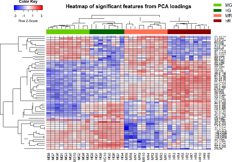 Processing and Visualization of Metabolomics Data Using R